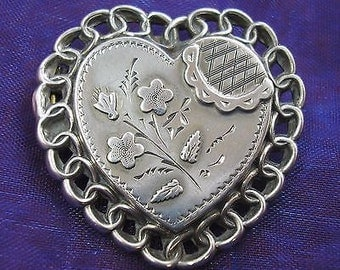 Antique Victorian Silver Sweetheart/Heart Brooch - 1889