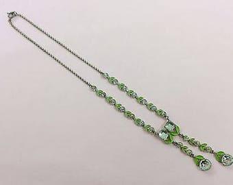 Antique Art Deco Chrome Paste and Enamel Necklace - c1920