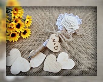 Guest Book Pen Rustic Wedding Pen Personalized Pen Flower Shabby Chic Wedding