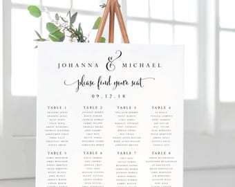 Seating Chart-Instant Download-Printable Seating Chart-Seating Sign-Find Your Table-Find Your Seat-Digital Calligraphy Template-#SN004_SC