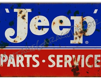 """Vintage Style """" Jeep - Parts and Service """" Advertising Metal Sign, Rusted"""