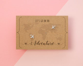 Silver Airplane / Aeroplane Earrings with Hand Designed Kraft Gift Card