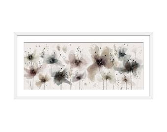 Floral Art Print. Flower Print. Flower Painting. Floral Painting. Neutral Flowers. Wall Art. Wall Decor