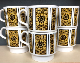 STAFFORDSHIRE POTTERIES LTD Set of Six Coffee Cups / Mugs