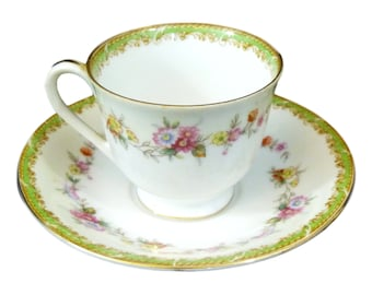 Occupied Japan Demitasse Cup and Saucer - Hand-painted - Cherry China