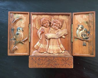Vintage Carved Wood Singing Angels and Birds Triptych, Carved Wooden Angels