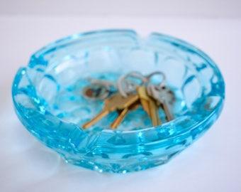 mid century blue glass ashtray