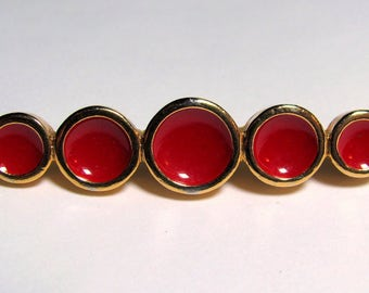 "Designer GINNIE JOHANSEN Red Enamel Gold-tone Circles Brooch Bar Pin 2.6"" x .47"""