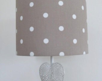 Brown and Cream Dotty Fabric Lamp Shade