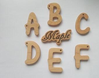 Wooden letter keyrings