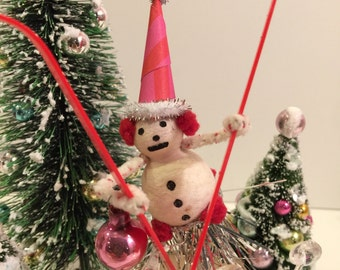 Snowman Decoration Spun Cotton Japan Figure Pipe Cleaner Vintage Ski Retro Kitsch Style Whimsical Doll Christmas Holiday OOAK