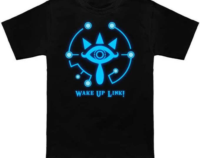 Wake Up Link! LEGEND OF ZELDA Sheikah Slate Breath of the Wild T-Shirt Link Hyrule Nerd Pop Culture Nintendo Switch Nes Shirt