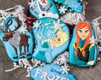 FROZEN cookies / Elsa cookies/ Olaf cookies/ Frozen Party favors/ Anna Cookies/ Swen cookies/ Winter themed cookies/ Snowflake cookies