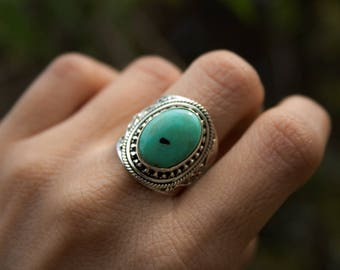 Turquoise Ring, Natural Turquoise Gemstone Ring, Pure 925 Sterling Silver Ring, Boho Ring, Gypsy Ring, Bohemian Ring, Turquoise Jewelry,