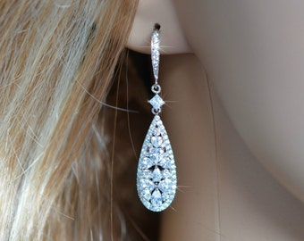 Beautiful Vintage Inspired Fancy Cuts Cubic Zirconia CZ Dangle Bridal Earrings, Bridal, Wedding (Sparkle-2069)