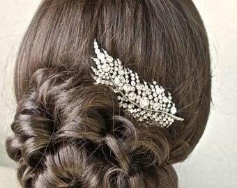 Vintage Inspired Crystal Rhinestone Leaf Bridal Hair Clip, Bridal, Wedding (Sparkle-1812)