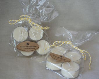 Natural  Unscented Beeswax Tea Lights in pack of 4