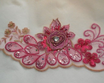 A rose pink with some gold threads floral sequind beaded lace applique / rose pink beaded lace motif is for sale. sold by per piece