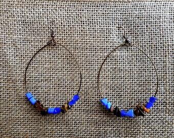 Large hoop earrings with Blue Cat's Eye bead chips