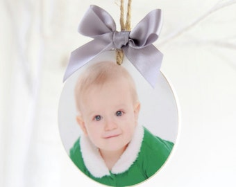 Personalised wooden Christmas Photo Bauble decoration. Personalised tree bauble.