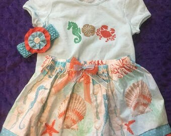 Handmade girls/baby's 3 piece outfit with crabs and shells