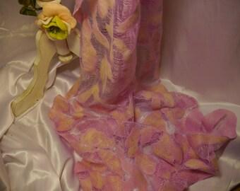 Elegant handmade scarf. Merino wool, thin Margelan silk, shiny viscose.