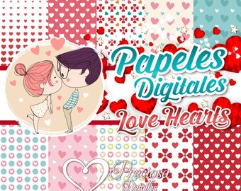 Papers digital LOVE HEARTS 12 by 12 Jpeg
