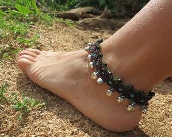 Gypsy style macrame anklet, macrame anklet, ethnic style.