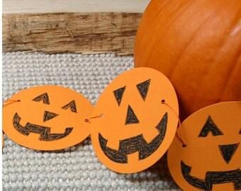 Halloween Bunting, Happy Pumpkins Garland, Halloween Decorations, Jack o'Lanterns, Halloween Party Decor