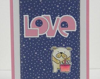 Bulldog Anniversary Card, Bulldog Love Card, Bulldog Birthday Card, Handmade Bulldog Card