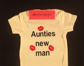 Aunties new man Baby Onesies Cute Customized Personalized Funny Unique Baby Shower Gift