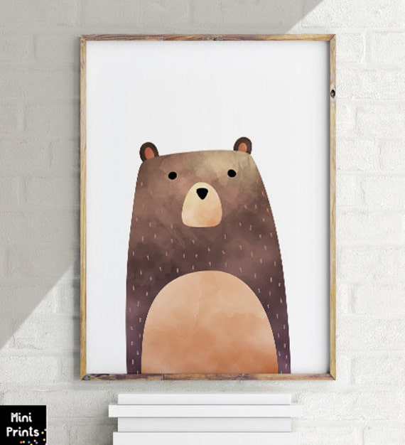 Sale Pdf Woodland Nursery Bear Print Bear Art By