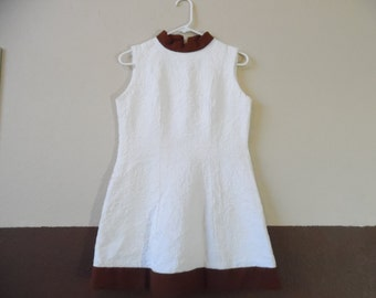 Vintage A Line Cream and Brown Women's Dress