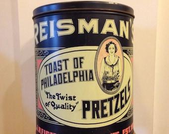 """Vintage Reisman's pretzels tin/ """"Toast of Philadelphia"""" tin/ large/metal"""