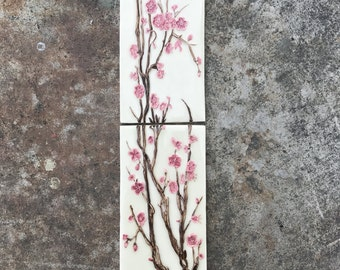 Cherry Blossom ceramic mural 2 piece
