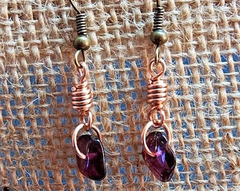 amethyst copper link earrings