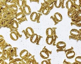 Custom ANY Number Confetti - Custom Birthday Decor - Custom Anniversary Decorations - Glitter Confetti