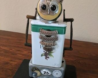 """Meet:""""Ollie"""" Found Object Art Assemblage Robot"""