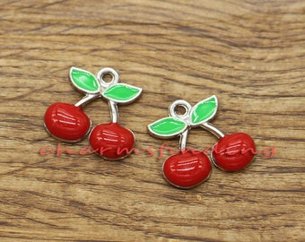 10pcs Cherry Charms Fruit Charm Silver Plated Enamel Charms 17x18mm cf1655