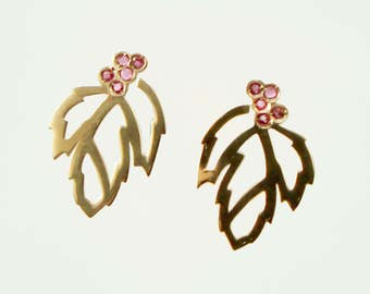 Earrings in Silver 925 pink chapada gold, reason leaves Rowan and Ruby, collection SERBALIA