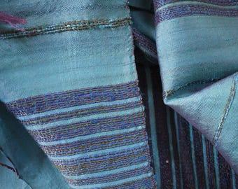 Traditional handwoven silk textile - asian tribal silk textile - handwoven traditional Thai scarf silk weaving - blue silk scarf