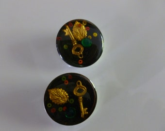 Two Vintage Black Lucite Buttons with Embedded Objects, 29MM Vintage Buttons, Button Art Supplies, Sewing Buttons, Assemblage Supplies