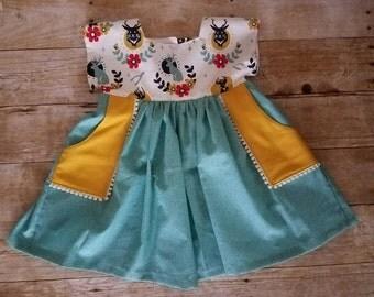 Teal and mustard Luna dress - boho dress - toddler dress - fall dress - Jackalope dress