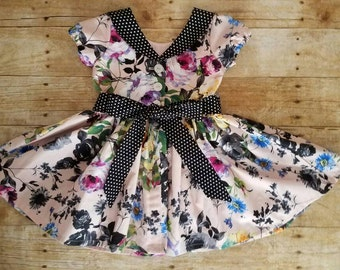 Pink and black floral Audrey dress - Easter dress - Spring dress - Tea party dress