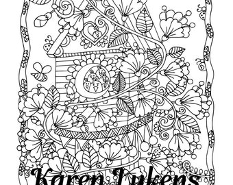 Aunt Judy's Birdhouse, 1 Adult Coloring Book Page, Printable Instant Download, Karen Lukens