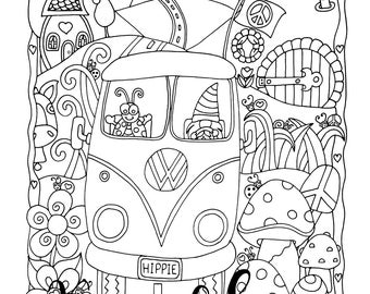 Harry's Ride, 1 Adult Coloring Book Page, Printable Instant Download, VW, Tiny Houses, Gnomes