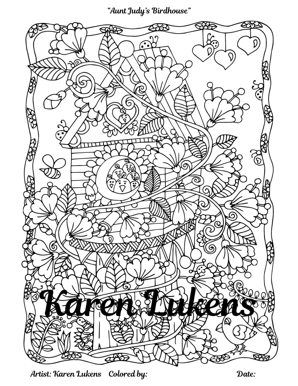 Aunt Judys Birdhouse 1 Adult Coloring Book Page Printable Instant Download Karen Lukens