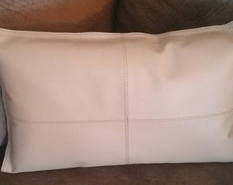 faux taupe leather pillow,throw pillow,pillows,taupe pillow,taupe leather,accent pillow,