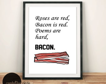 Bacon Poem, Bacon Art, Bacon Lovers, Bacon Gifts, Funny Art, Pork, Pigs, Wall Art , Home Decor, Kitchen Decor, Paleo,Barbecue Art,Wall Signs