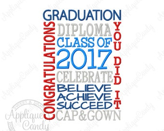 Graduation Class of 2017 Subway Art Embroidery Design 4x4 5x5 5x7 6x6 6x10 7x7 8x8 High School College INSTANT DOWNLOAD